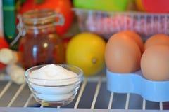Sodium bicarbonate inside of fridge. Closeup Royalty Free Stock Images