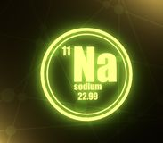 Sodium chemical element. Sign with atomic number and atomic weight. Chemical element of periodic table. 3D rendering stock illustration