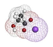 Sodium lactate, chemical structure. 3D rendering. Atoms are represented as spheres with conventional color coding: hydrogen (white