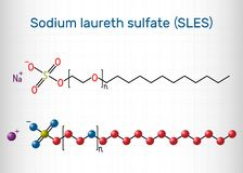 Sodium laureth sulfate SLES molecule. It is an anionic surfactant used in cleaning and hygiene products. Structural chemical. Formula. Sheet of paper in a cage royalty free illustration