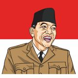 Soekarno the First President of Republic of Indonesia. Vector Portrait with Indonesian Flag Background. November 1, 2017. Soekarno the First President of stock illustration