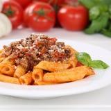 Soßennudel-Teigwarenmahlzeit italienisches Küche penne Rigate von Bolognese Stockbild