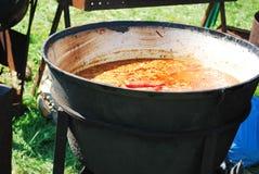Soep in een grote pot Stock Afbeeldingen