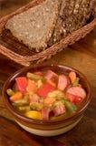 Soep en brood Stock Afbeelding