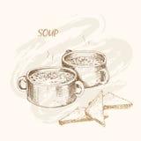 Soep en brood stock illustratie