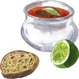 Soep, kalk en brood Hand getrokken waterverfillustratie stock illustratie