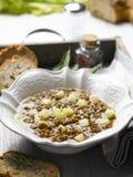 Soep met linzen en aardappels royalty-vrije stock foto's