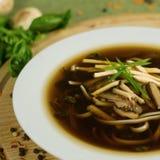 Soep met shiitake, miso en greens Royalty-vrije Stock Afbeelding