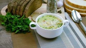 Soep met verse groenten en brood wordt verfraaid dat stock footage