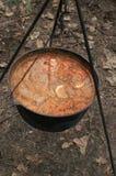 Soep, shurpa, ketel, brand, het koken Stock Afbeelding