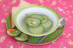 Soep van komkommer stock foto's