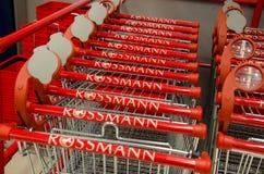 Soest, Duitsland - December 19, 2017: Het winkelen karretje in Rossmann-opslag Rossmann is second-largest drogisterij van Duitsla stock afbeeldingen