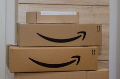 Soest, Germany - December 12, 2018: Amazon Prime cardboard box.  stock images