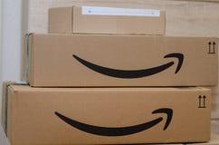 Soest, Germany - December 12, 2018: Amazon Prime cardboard box.  stock photo