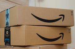 Soest, Germany - December 12, 2018: Amazon Prime cardboard box.  stock photos