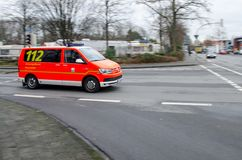 Soest, Germany - December 18, 2017: German emergency doctor car drives on a street. 112 is the European emergency number that can. German emergency doctor car stock images