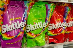 Soest, Germany - January 3, 2018: Closeup of Skittles pack fruit-flavoured sweets. Produced and marketed by the Wrigley Company, a. Closeup of Skittles pack royalty free stock images