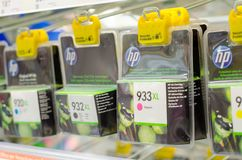 Soest, Germany - January 12, 2019: HP Ink Cartridges for sale royalty free stock images