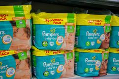Soest, Germany - January 9, 2018: Pampers pack for sale in the Rossmann store. Pampers is an American name brand of baby and royalty free stock photo