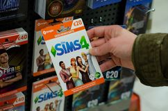 Soest, Germany - January 8, 2019: Sims4 Cards for sale in the shop stock photos