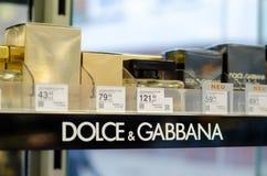 Soest Tyskland - Januari 3, 2019: Dolce & Gabbana parfymerar till salu i shoppar royaltyfri bild