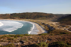 Soesto Beach. Wild beach in Galicia, North of Spain. Surf paradise Stock Photos