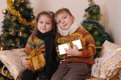 Soeur et frère avec les présents d'or sous l'arbre de Noël Image stock
