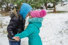 Soeur et frère ayant l'amusement dans la forêt neigeuse Images libres de droits