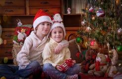 Soeur et frère sittting sous l'arbre de Noël Images stock