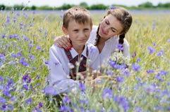 Soeur et petit frère étreignant sur le fond d'été dehors Image stock