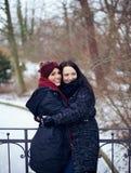 Soeurs étreignant en ce parc froid d'hiver Photo libre de droits