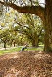 Soeurs appréciant le temps ensemble en parc du sud d'automne Photos libres de droits