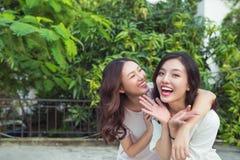 Soeurs asiatiques étreignant et souriant en parc Photos libres de droits