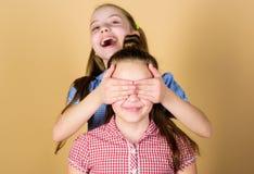 Soeurs de filles ayant l'amusement ensemble Visages de sourire de soeurs adorables Amour de famille concept de fraternit? Pi?ce d photo libre de droits