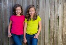 Soeurs jumelles avec la coiffure différente posant sur la barrière en bois Photographie stock