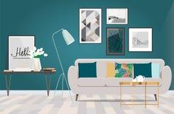 Sofà beige in una stanza con il pavimento e la parete bianchi del turchese fotografia stock libera da diritti