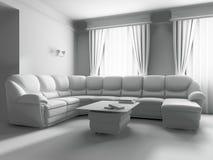 Sofà bianco nell'interiore Immagine Stock