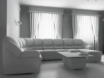 Sofà bianco nell'interiore Fotografia Stock Libera da Diritti
