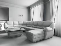 Sofà bianco nell'interiore Fotografie Stock