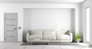 Sofà bianco in un salone illustrazione vettoriale