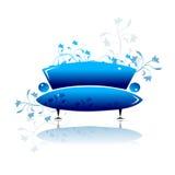 sofà blu di disegno royalty illustrazione gratis