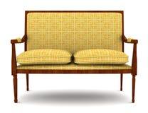 Sofà classico giallo isolato su bianco Fotografia Stock Libera da Diritti