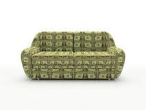 Sofà con i dollari isolati su priorità bassa bianca Fotografia Stock