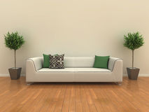 Sofà con le piante royalty illustrazione gratis