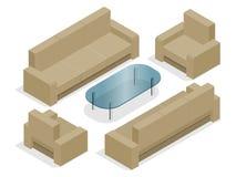 Sofà con le poltrone isolate su bianco Illustrazione isometrica piana 3d Fotografie Stock Libere da Diritti