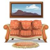 Sofà d'annata con la coperta e l'immagine molli royalty illustrazione gratis