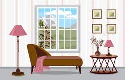 Sofà dalla finestra con una vista delle montagne Interno moderno nello stile scandinavo con gli accenti luminosi illustrazione vettoriale