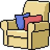 Sofà di arte del pixel di vettore royalty illustrazione gratis