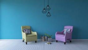 sofà di colore pastello della rappresentazione 3ds sul pavimento di legno immagini stock