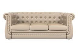 Sofà di cuoio beige isolato sopra 3d bianco Fotografia Stock Libera da Diritti